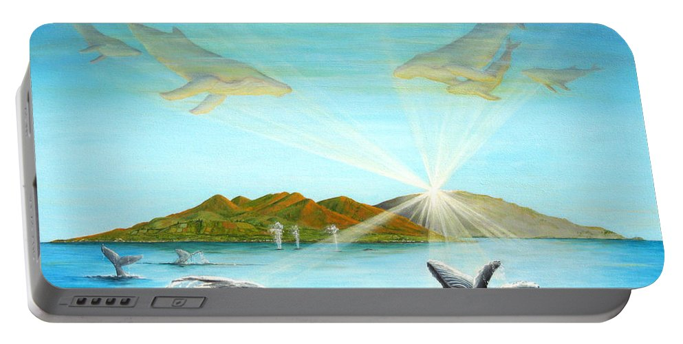 Whales Portable Battery Charger featuring the painting The Whales Of Maui by Jerome Stumphauzer