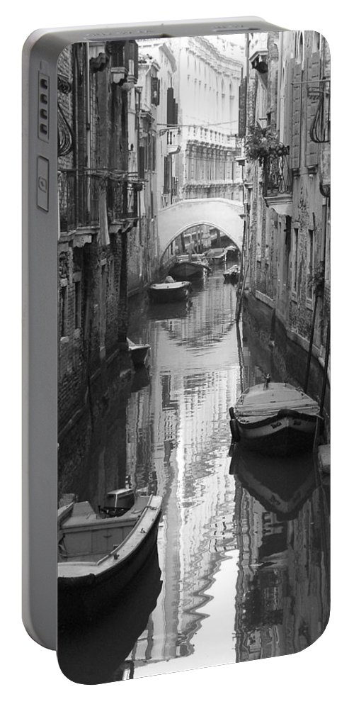 Venice Portable Battery Charger featuring the photograph The White Bridge by Donna Corless