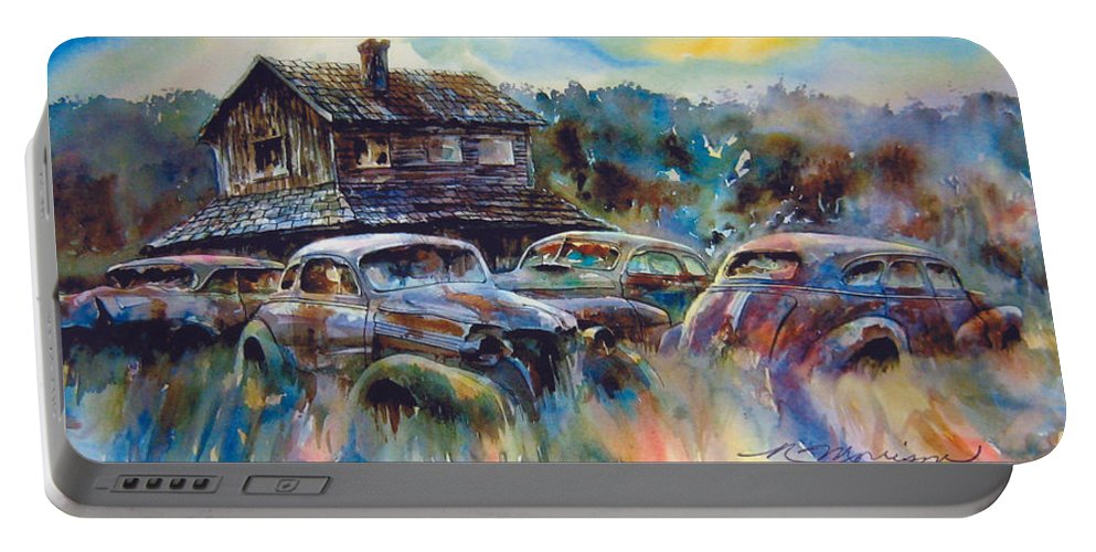 Old Rusty Dilapidated Cars House Portable Battery Charger featuring the painting The Wide Spread by Ron Morrison