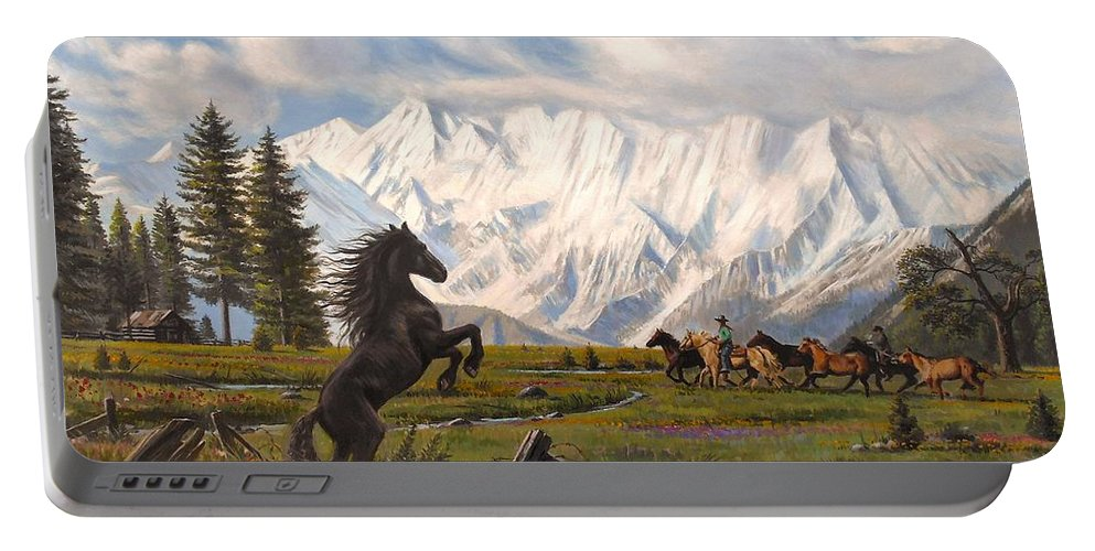 Wild Horse Portable Battery Charger featuring the painting The Wild One by Mike Roberts