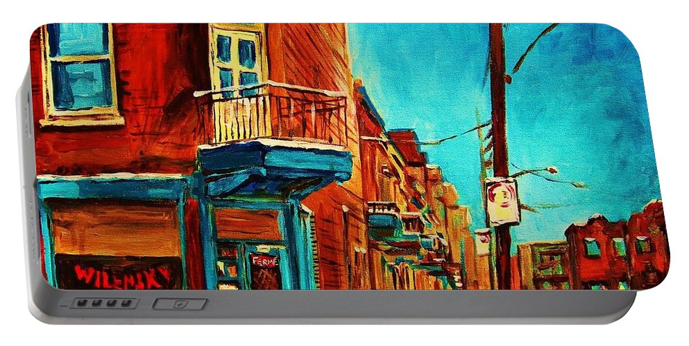Wilenskys Doorway Portable Battery Charger featuring the painting The Wilensky Doorway by Carole Spandau