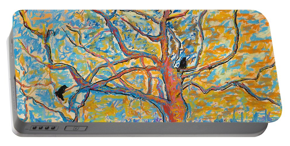 Abstract Painting Portable Battery Charger featuring the mixed media The Wind Dancers by Pat Saunders-White