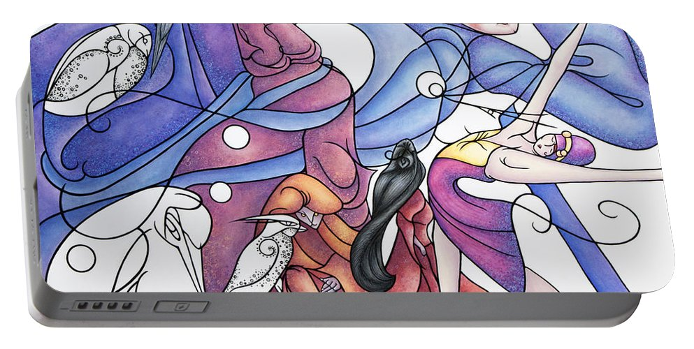 Wizard Portable Battery Charger featuring the painting The Wizards Daughter by Judy Henninger