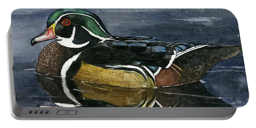 Wood Duck Portable Battery Charger featuring the painting The Wood Duck by Mary Tuomi