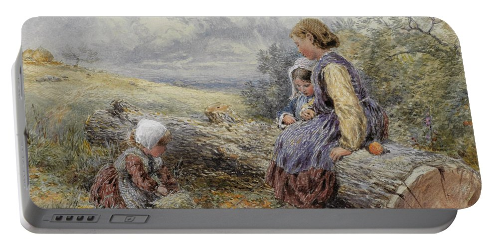 Myles Birket Foster Portable Battery Charger featuring the drawing The Woodcutter's Children by Myles Birket Foster