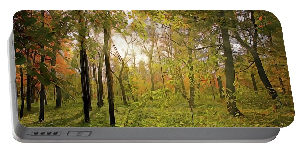 The Woods Portable Battery Charger featuring the painting The Woods by Harry Warrick