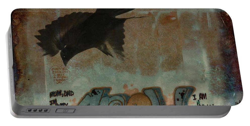 Crow Art Portable Battery Charger featuring the photograph The Word Crow by Gothicrow Images