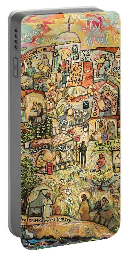 Jen Norton Portable Battery Charger featuring the painting The Works Of Mercy by Jen Norton