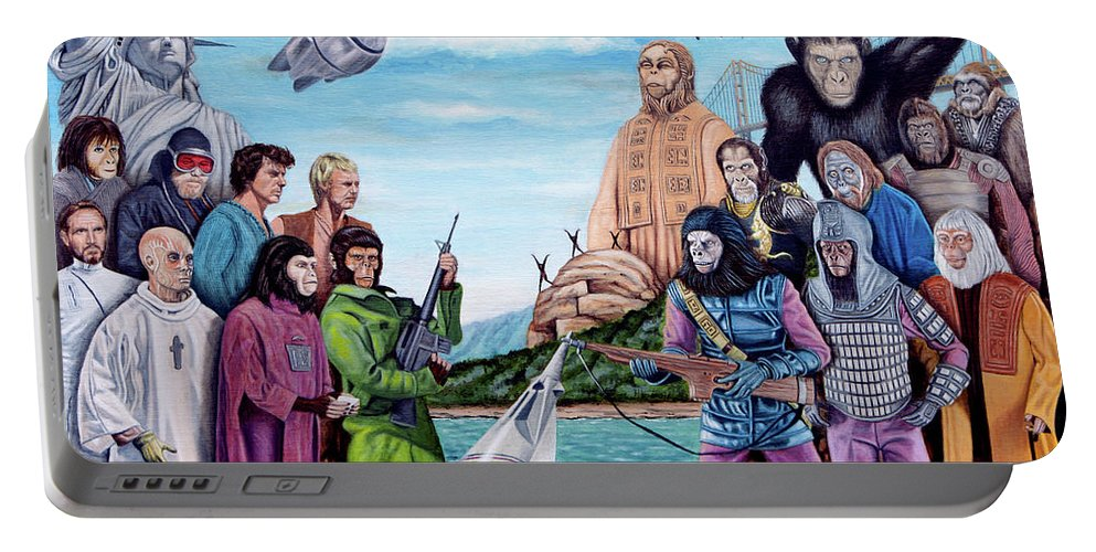 Planet Of The Apes Portable Battery Charger featuring the painting The World Of The Planet Of The Apes by Tony Banos
