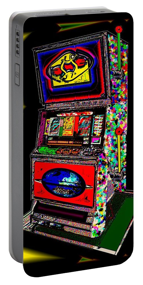 Greed Portable Battery Charger featuring the digital art the World-Trade-Slot-Machine by Helmut Rottler