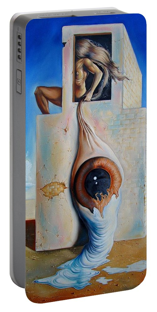 Portable Battery Charger featuring the painting The Worst Blind by Darwin Leon