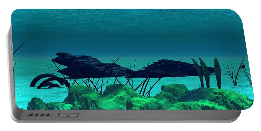 Fantasy Portable Battery Charger featuring the digital art The Wreck Diving The Reef Series by David Lane
