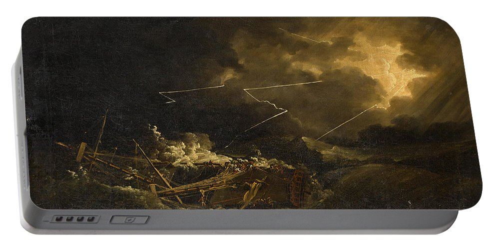 John Thomas Serres Portable Battery Charger featuring the painting The Wreck Of The H.m.s. Deal Castle Off Puerto Rico During The Great Hurricane Of 1780 by John Thomas Serres