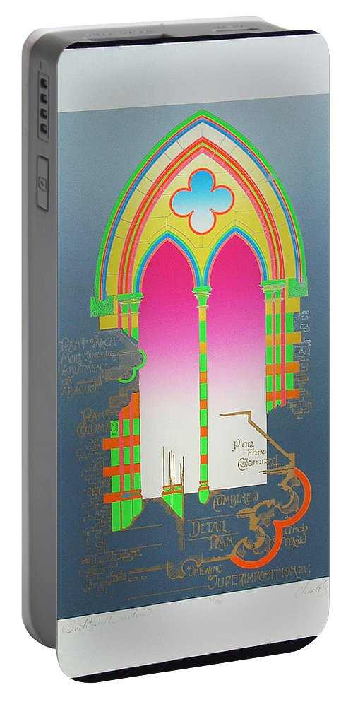 Church Portable Battery Charger featuring the mixed media The Wurlitzer Window by Charles Stuart