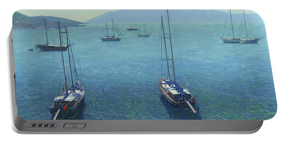 Yachts Portable Battery Charger featuring the painting The Yachts by Simon Kozhin