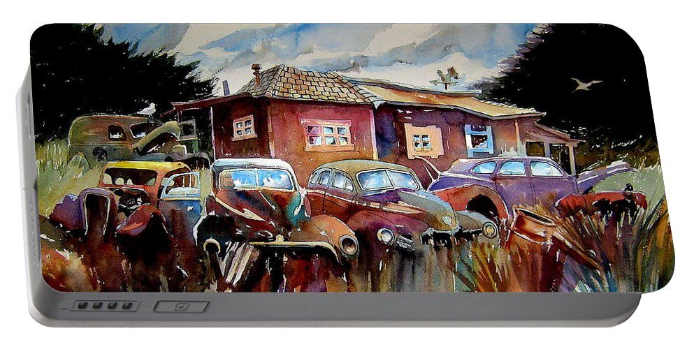 Cars Portable Battery Charger featuring the painting The Yard Ornaments by Ron Morrison