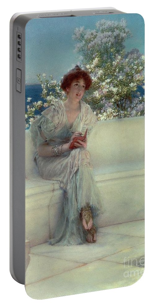 The Portable Battery Charger featuring the painting The Year's At The Spring - All's Right With The World by Sir Lawrence Alma-Tadema
