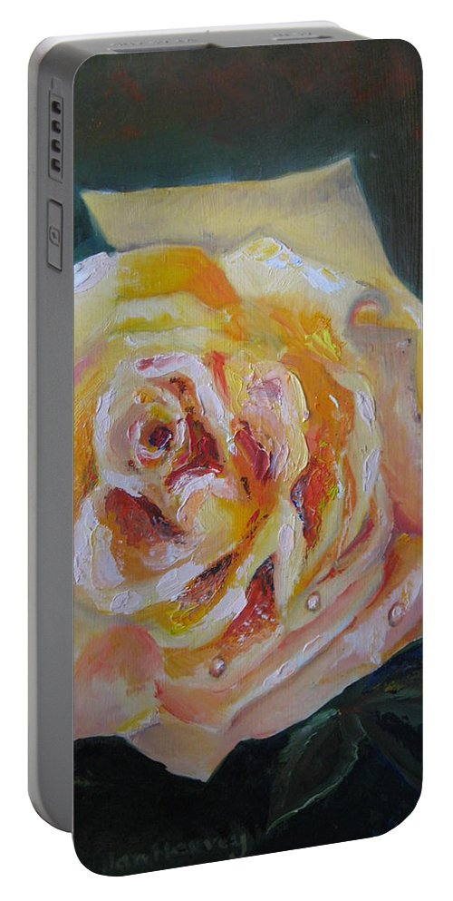 Yellow Rose Portable Battery Charger featuring the painting The Yellow Rose by Jan Harvey