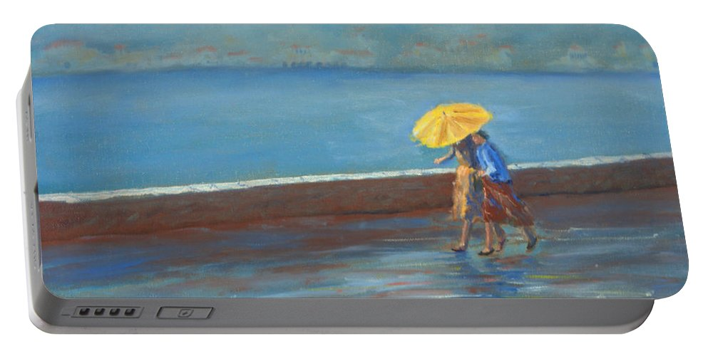 Rain Portable Battery Charger featuring the painting The Yellow Umbrella by Jerry McElroy