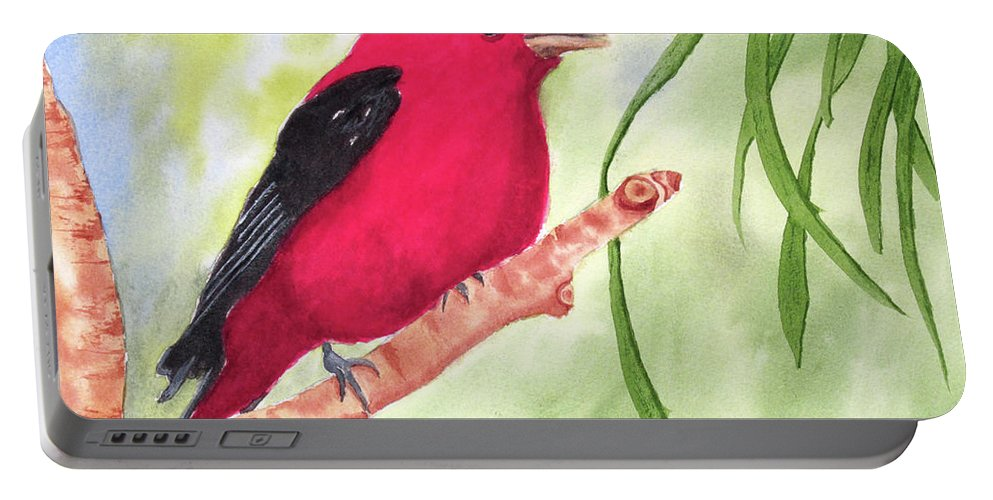 Red Portable Battery Charger featuring the painting Theodore Tanager by Rich Stedman