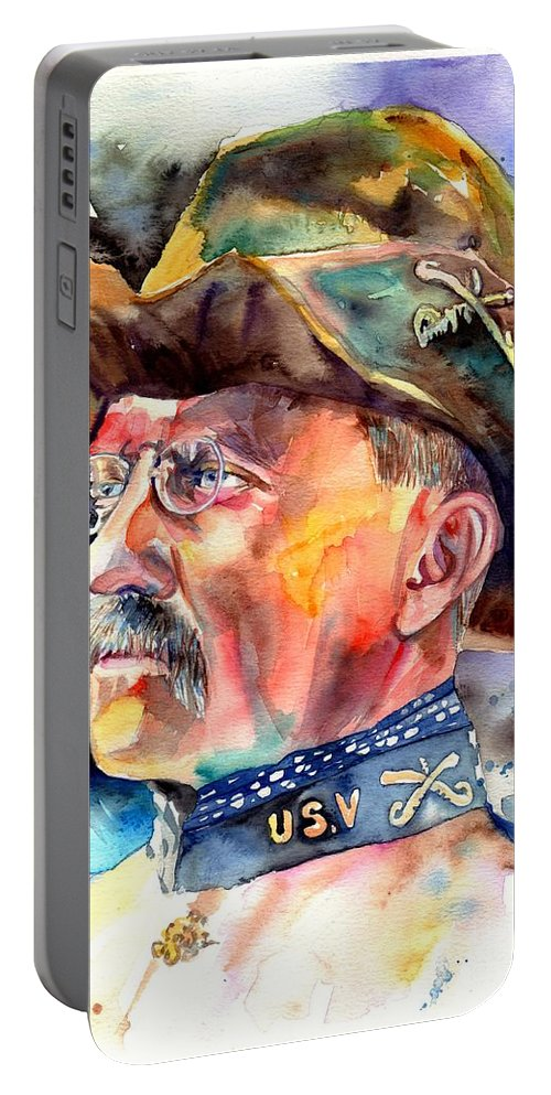 Theodore Roosevelt Portable Battery Charger featuring the painting Theodore Roosevelt painting by Suzann Sines