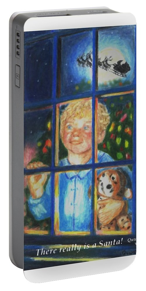 Santa Portable Battery Charger featuring the drawing There Really is a Santa by Quwatha Valentine