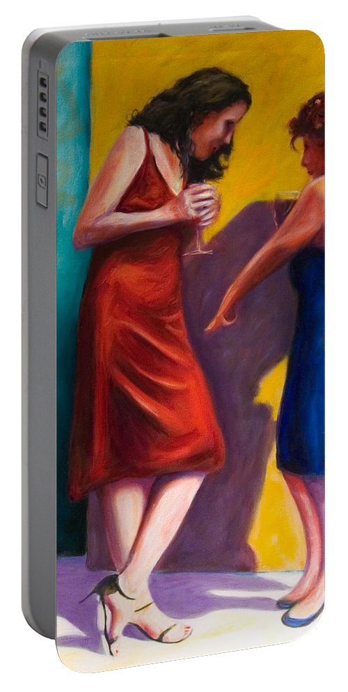 Figurative Portable Battery Charger featuring the painting There by Shannon Grissom