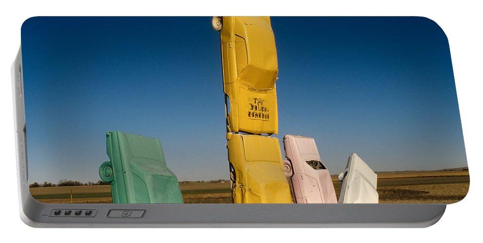 Car Henge Portable Battery Charger featuring the photograph They Have Landed by Jerry McElroy
