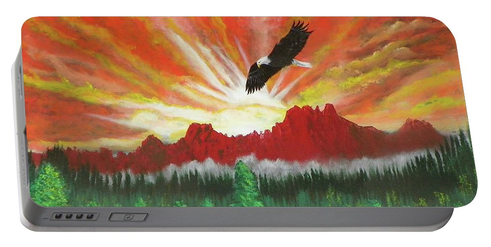Acrylic Portable Battery Charger featuring the painting They That Wait Upon The Lord  Isa 40 31 by Laurie Kidd