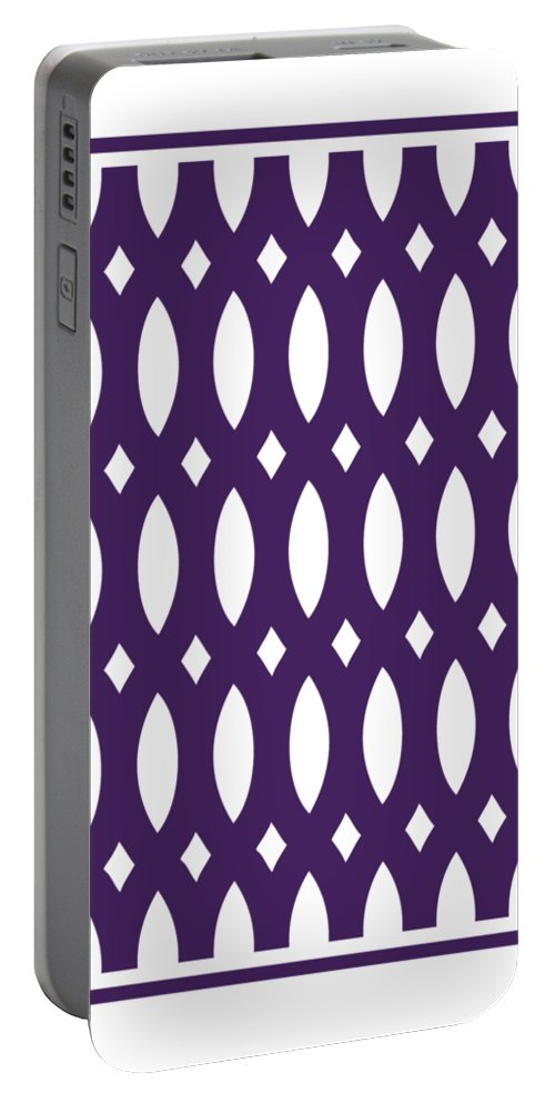 Thick Curved Trellis Portable Battery Charger featuring the digital art Thick Curved Trellis With Border In Purple by Custom Home Fashions
