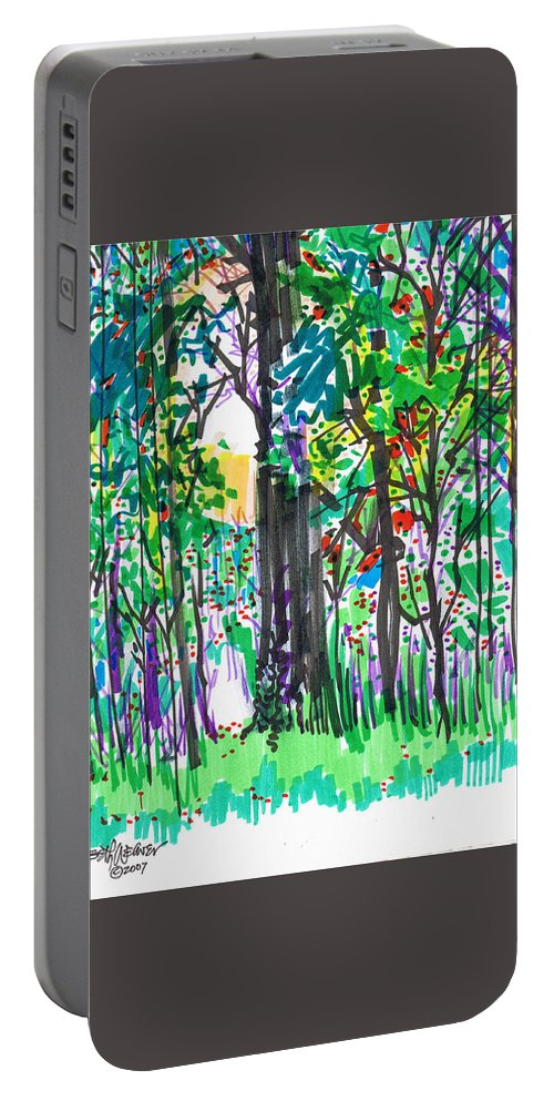 Forest Portable Battery Charger featuring the drawing Thicket by Seth Weaver