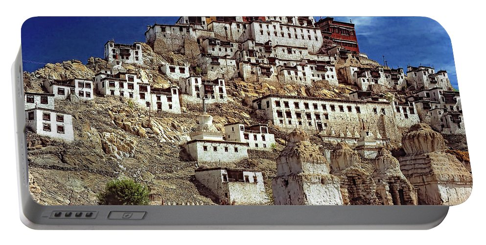 Ladakh Portable Battery Charger featuring the photograph Thiksey Monastery by Steve Harrington