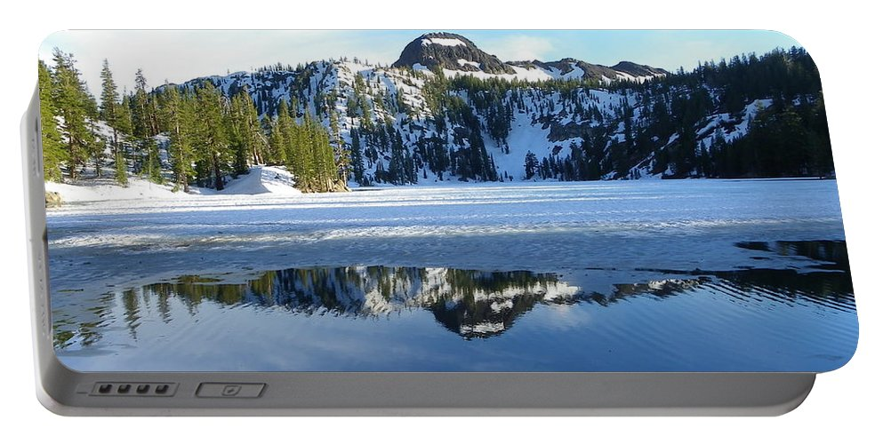 Landscape Portable Battery Charger featuring the photograph Thin Ice by Charleen Treasures