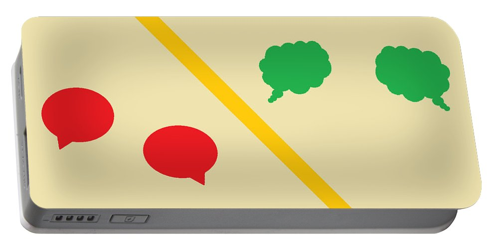 Digital Art Portable Battery Charger featuring the digital art Think Before You Speak by Aj