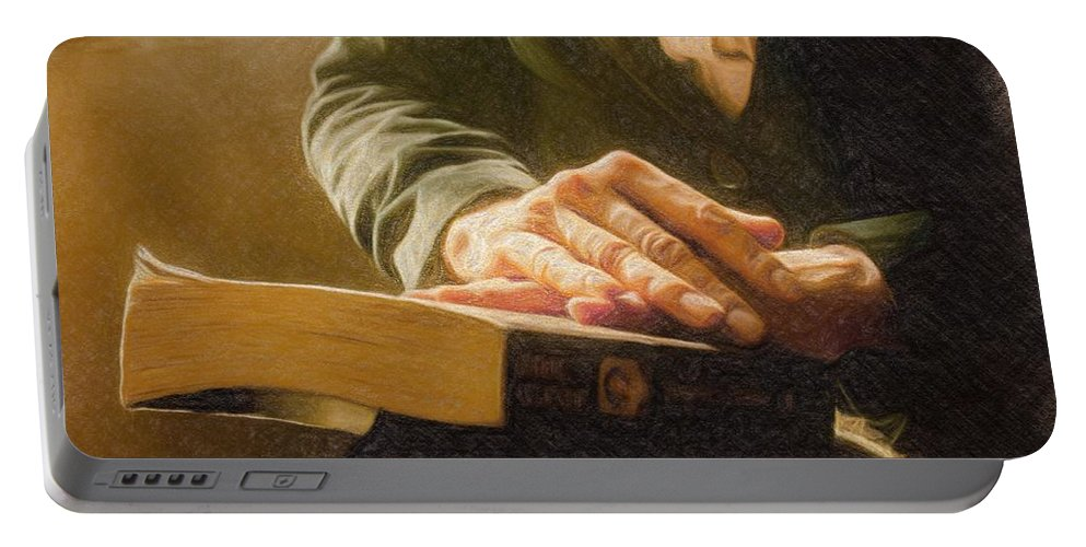 Book Portable Battery Charger featuring the painting Thinking - Id 16217-152033-4576 by S Lurk