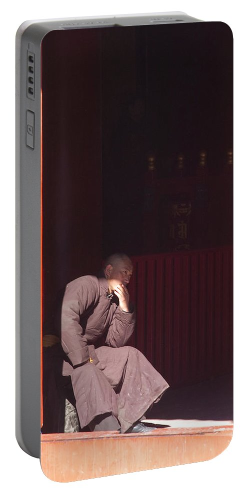 China Portable Battery Charger featuring the photograph Thinking Monk by Sebastian Musial