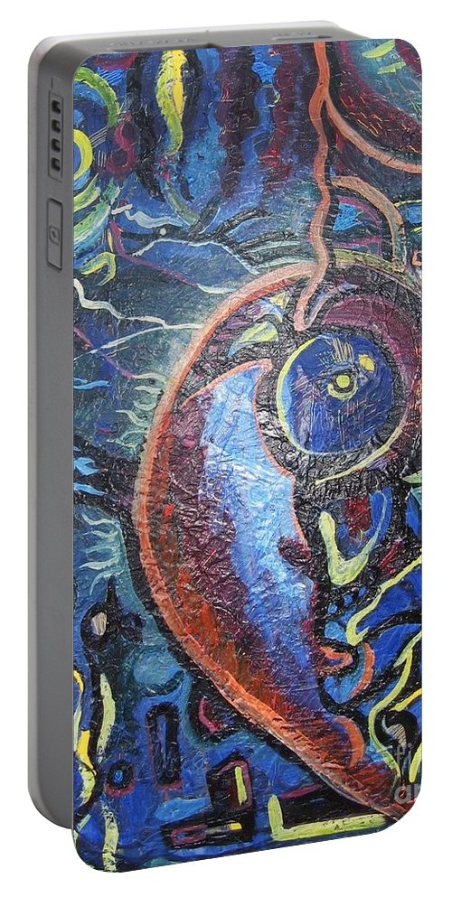 Abstract Contemporary Home Blue Oil Canvas Board Portable Battery Charger featuring the painting Thinking Of Home by Seon-Jeong Kim