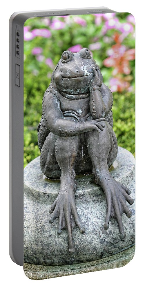Frog Portable Battery Charger featuring the photograph Thinking by Shari Jardina