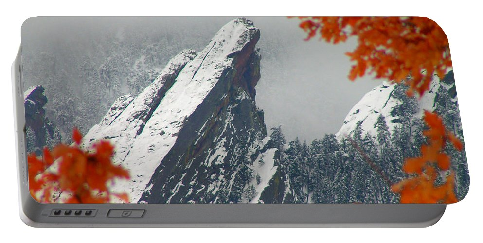 Flatirons Boulder Colorado Winter Fall Autumn Nature Rocky Mountains Zen Simple Portable Battery Charger featuring the photograph Third Flatiron by George Tuffy
