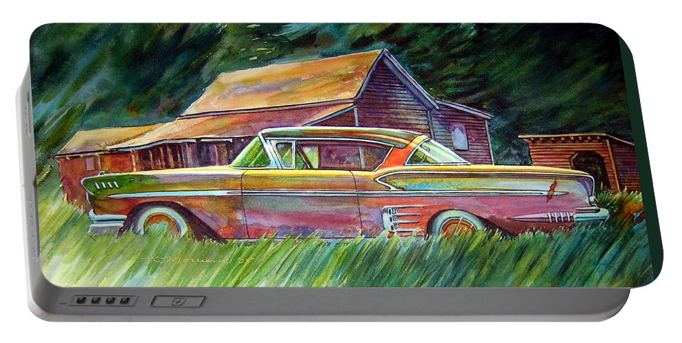 Rusty Car Chev Impala Portable Battery Charger featuring the painting This Impala Doesn by Ron Morrison