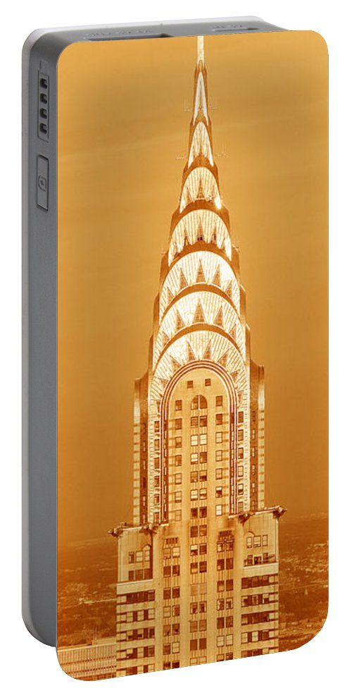 Photography Portable Battery Charger featuring the photograph Chrysler Building At Sunset by Panoramic Images
