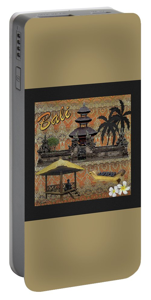 This Is Bali Portable Battery Charger featuring the mixed media This Is Bali by Ellen Henneke