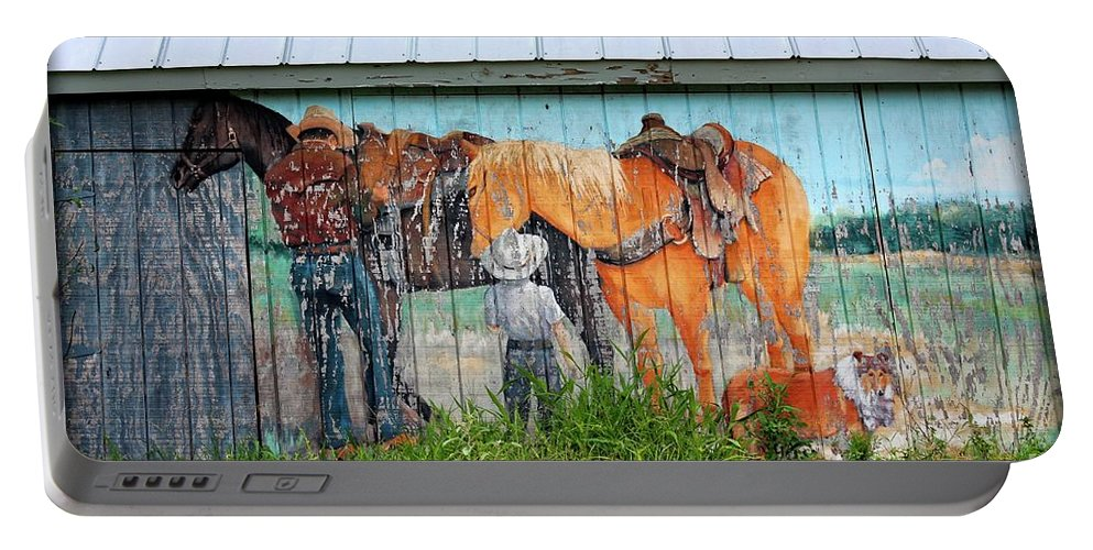 America Portable Battery Charger featuring the photograph This Old Barn by Ella Kaye Dickey