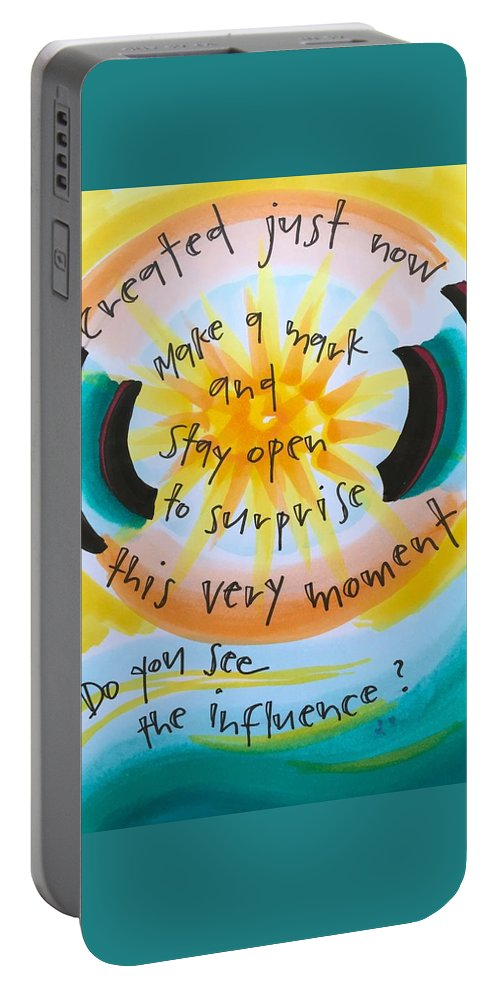 Creativity Portable Battery Charger featuring the painting This Very Moment by Vonda Drees
