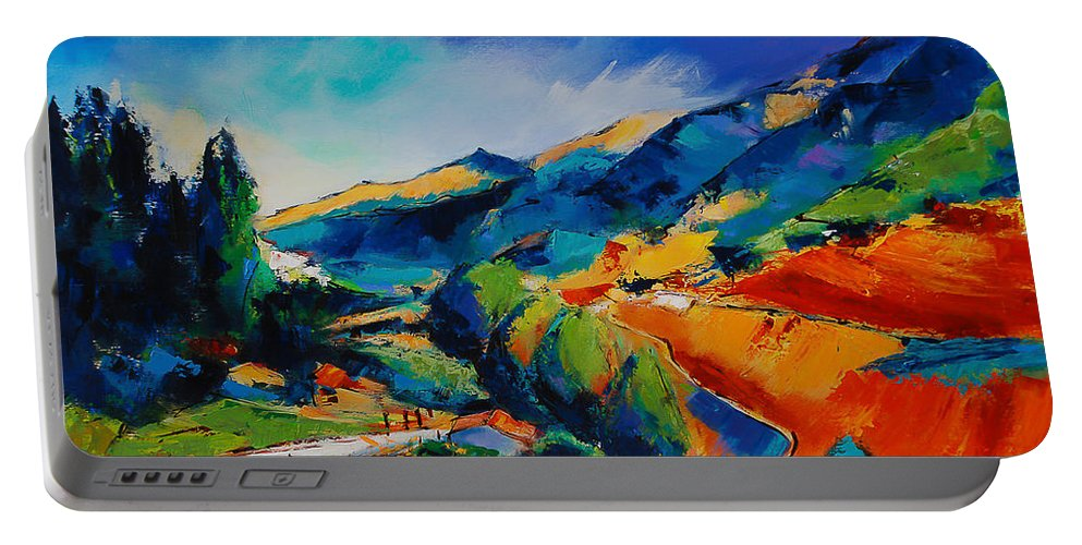 This Way To Heaven Portable Battery Charger featuring the painting This Way To Heaven by Elise Palmigiani
