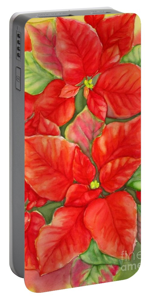 Still Life Portable Battery Charger featuring the painting This Year's Poinsettia 1 by Inese Poga