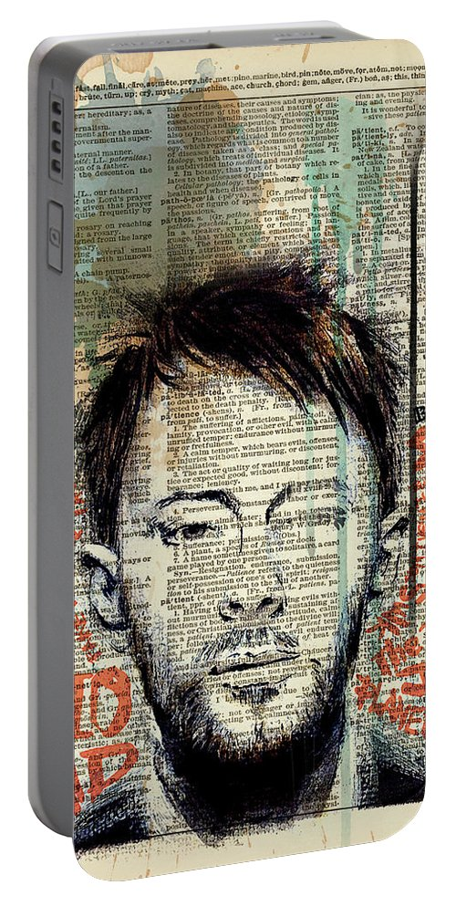 Jimi Hendrix Portable Battery Charger featuring the painting Thom Yorke by Art Popop