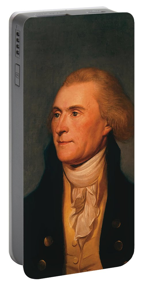 Thomas Jefferson Portable Battery Charger featuring the painting Thomas Jefferson by War Is Hell Store