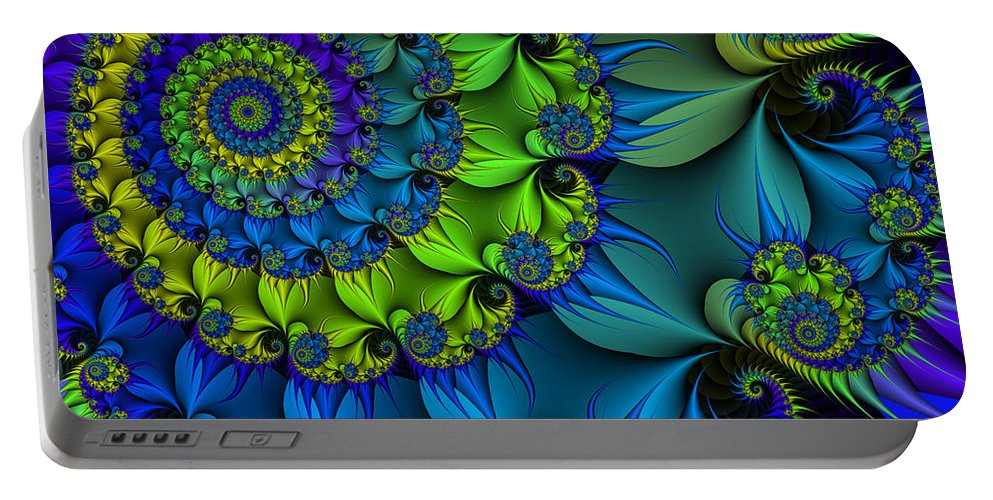 Fractal Portable Battery Charger featuring the digital art Thorn Flower by Jutta Maria Pusl
