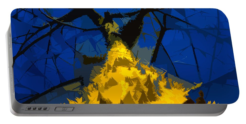 Blue Sky Portable Battery Charger featuring the painting Thorny Tree Blue Sky by David Lee Thompson